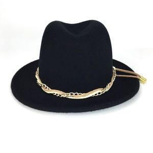 Calvin Klein Wool Chain Wrapped Black Fedora Hat